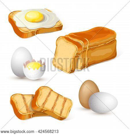 Chicken Eggs And Toasts. Fried Egg On Bread. Sliced Bread, Boiled Eggs, Fresh Yolk In Broken Eggshel