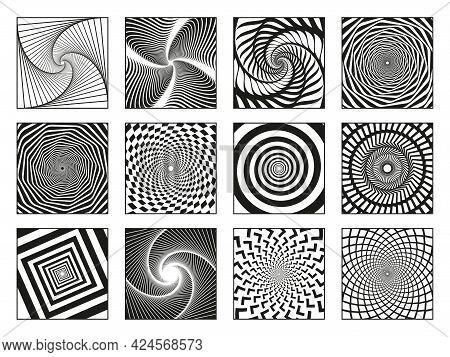 Hypnotic Spirals. Vortex Motion Hypnotise Spirals, Rotating Motion Spiral Elements Vector Illustrati