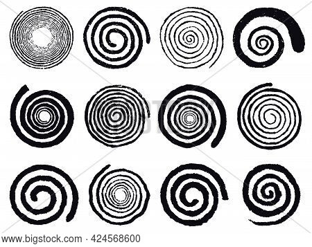 Grunge Spirals. Swirling Abstract Simple Rotating Spirals, Black Ink Spiral Circles Isolated Vector