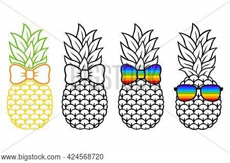 Pineapple With Rainbow Hair Bow, Sunglasses. Lgbtq. Vector Fruit. Rainbow Tropical Illustration. Fla