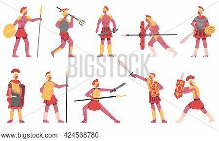 Roman Soldiers. Ancient Roman Army Warriors, Rome Legionnaires, Greek Soldiers Cartoon Vector Illust