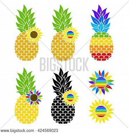 Rainbow Pineapple And Sunflowers. Flat Style. Lgbtq. Color Vector Illustration. Hand-drawn. Isolated