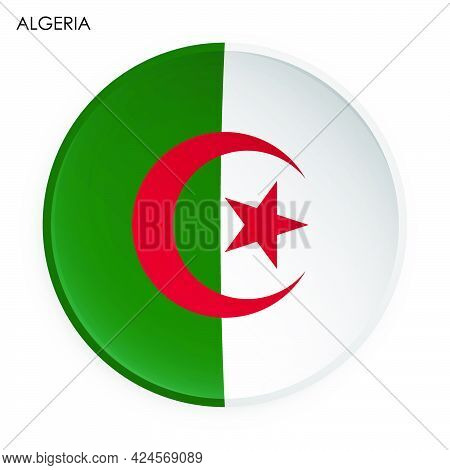 Algeria Flag Icon In Modern Neomorphism Style. Button For Mobile Application Or Web. Vector On White