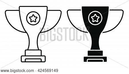 Prize Sports Cup For Participation In Sports Competitions. Award To Winner Of Tournament. Linear Ico