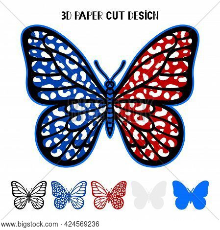 4th Of July 3d Leopard Butterfly. Independence Day. Vector Patriotic Symbol. Layered Insect. Paper O