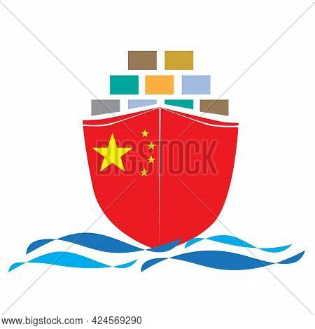Concept Design Cargo Ship With China Flag. Commercial Vessel Containers Freight Import And Export Ma