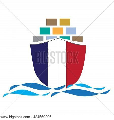 Concept Design Cargo Ship With France Flag. Commercial Vessel Containers Freight Import And Export M