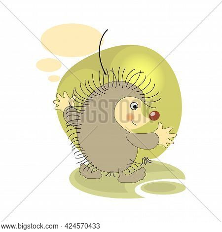 Green Apple. Cute Hedgehog. Sticker, Badge, Sticky Label With Quote . Lovely Happy Cute Character.