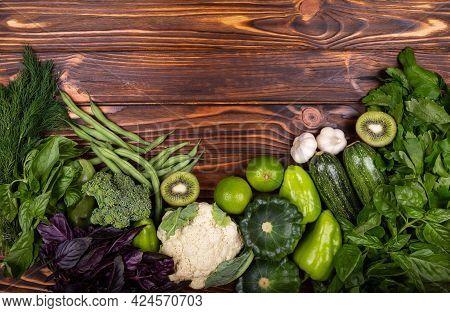 Healthy Diet Food. Organic Produce. Green Vegetable Frame. Top View Of Healthy Food Clean Food: Fram