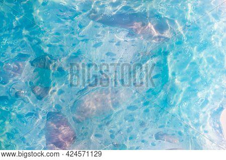 Texture Of Transparent Blue, Azure, Sky Blue Slime.