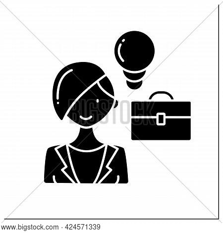 Female Entrepreneur Glyph Icon.starts Own Business, Especially When This Involves Seeing New Opportu