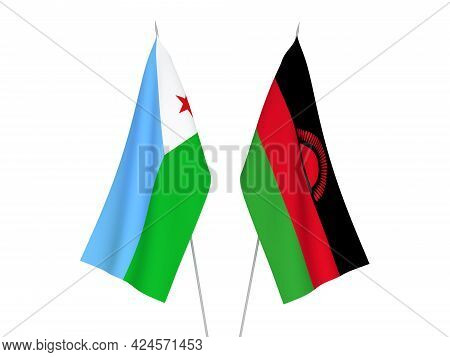 National Fabric Flags Of Malawi And Republic Of Djibouti Isolated On White Background. 3d Rendering