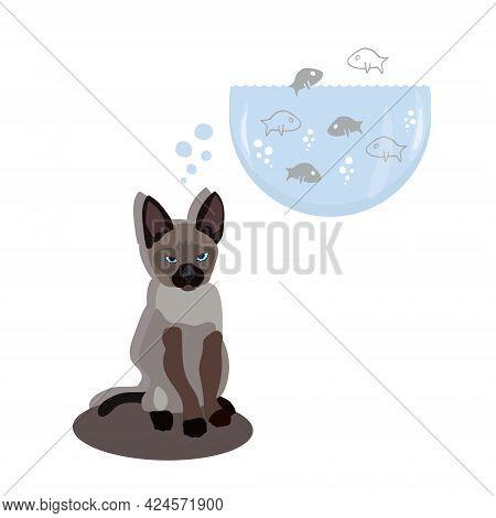 Cartoon Character. Cute Siamese Kitten Dreaming About Fish. Baby Animal Vector Illustration. Kitten