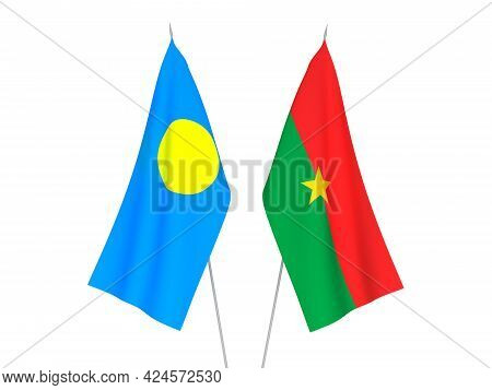 National Fabric Flags Of Palau And Burkina Faso Isolated On White Background. 3d Rendering Illustrat