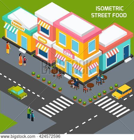 Street Food Cafe With Wooden Tables On Sidewalk Pavement Menu And Customers Isometric Poster Abstrac