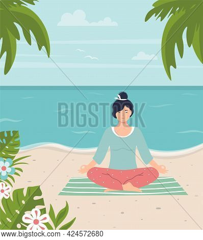 Young Woman Meditates On The Beach. Peaceful Female Character Doing Yoga On The Seashore. Meditation