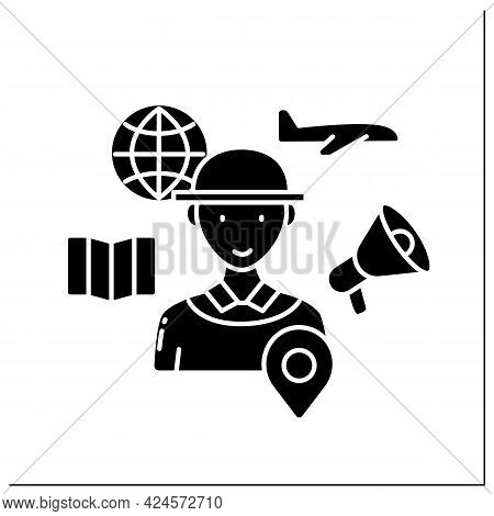 Tour Guide Glyph Icon. Assistance, Information On Cultural, Historical And Contemporary Heritage.org