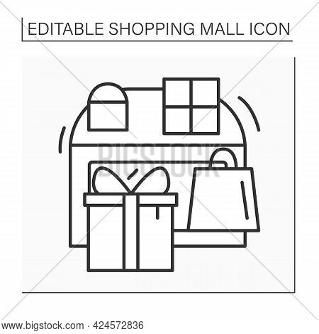 Gift Store Line Icon. Shop With Goods That Suitable For Giving As Presents. Souvenirs, Memorabilia A