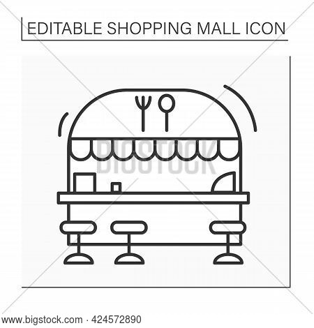 Food Court Line Icon. Food Area With Fast-food Outlets Located. Mini-restaurant Inside The Mall. Sho