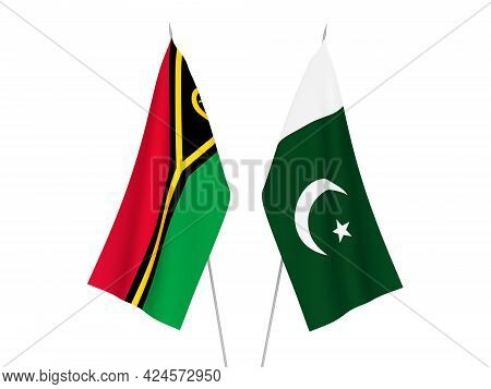 National Fabric Flags Of Pakistan And Republic Of Vanuatu Isolated On White Background. 3d Rendering
