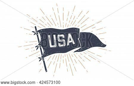 Usa. Flag Grahpic. Old Vintage Trendy Flag With Text Usa For United States Of America. Old School Vi