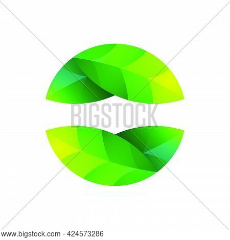Ecology Sphere Logo Made Of Twisted Green Leaves. Perfect For Your Organic Emblem, Go Green Identity