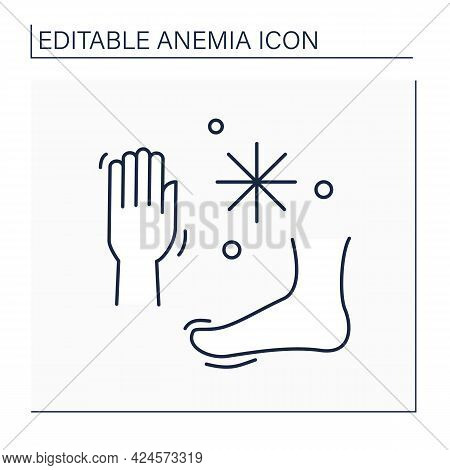 Anemia Line Icon. Disease Symptoms. Cold Hands And Feet. Low Hemoglobin. Health Protection Concept.