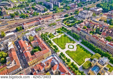Zagreb Central Train Station And King Tomislav Square Aerial View, Capital Of Croatia