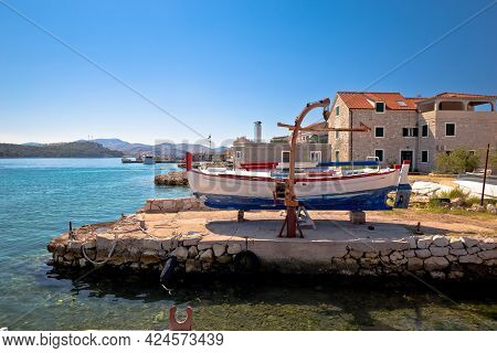 Colorful Harbor And Waterfront Of Krapanj Island,  Sea Sponge Harvesting Village, Sibenik Archipelag