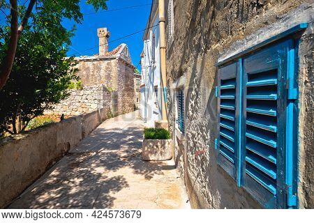 Old Stone Street In Mediterranean Village, Island Of Krapanj, Dalmatia Region Of Croatia