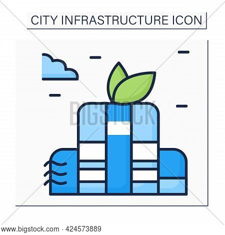 Green Building Color Icon. Environmentally Responsible Structure And Application Of Processes Throug