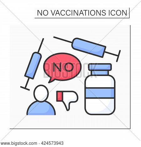 Vaccine Color Icon. Voluntary Refusal Of Vaccination. Covid19 Disease. No Vaccinations Concept. Isol
