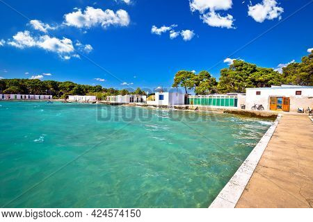 Jadrija Beach And Colorful Cabins View, Tourist Destination In Sibenik Archipelago Of Croatia