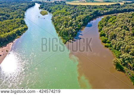 Aerial View Of Drava And Mura Rivers Mouth, Podravina Region Of Croatia, Border With Hungary