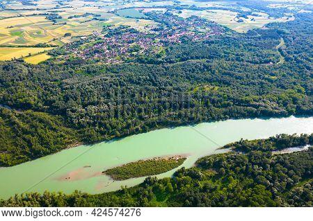 Aerial View Of Drava River And Legrad Village, Podravina Region Of Croatia, Border With Hungary
