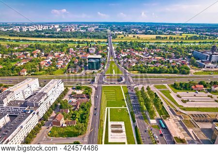 Aerial View Of Zagreb And Sava River Near Fountains Square, Capital Of Croatia