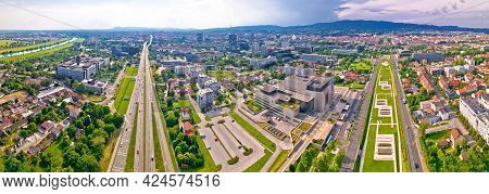 Aerial Panoramic View Of Zagreb And Sava River Near Fountains Square, Capital Of Croatia