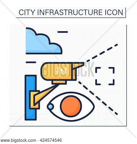 Video Surveillance Color Icon. Camera Transmits Signal To Specific Person. Surveillance Of Area From