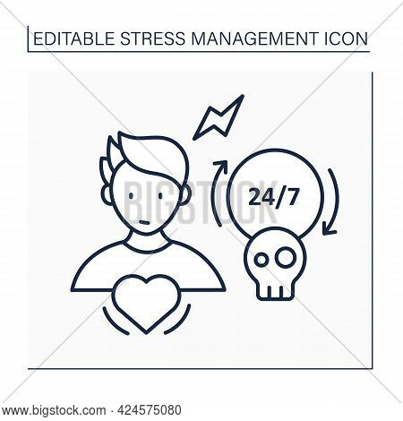Chronic Stress Line Icon.prolonged, Constant Stress Feeling. Stressful Situations. Emotional Pressur