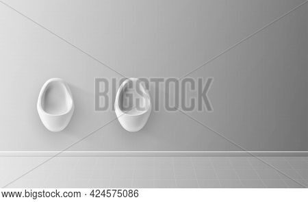 Men's Room With White Porcelain Urinals. Modern Clean Public Toilets With Tiles. Two White Urinals I