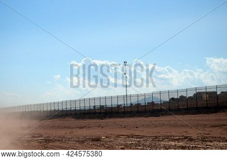 Movement blure.Solid fencing of the entire city for safety. Defense Against Terrorism. November 4, 2020. Sharm El Sheikh, Egypt