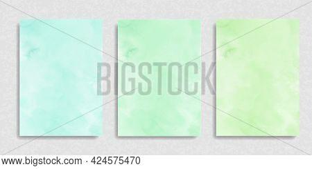 Set Of Mint Green Salad Gradient Watercolor Vector Background. Hand Drawn Aquarelle Texture. Light G