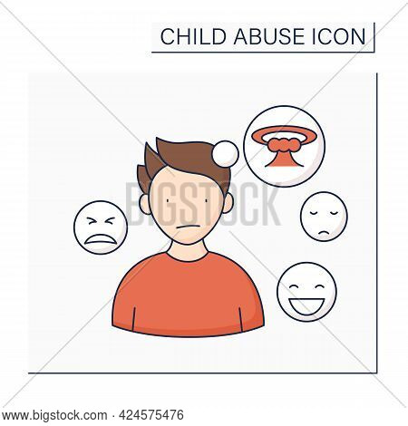 Emotionality Color Icon. Trouble Regulation Emotions. Uncontrolled Mood Changing. Unexplained Anxiet