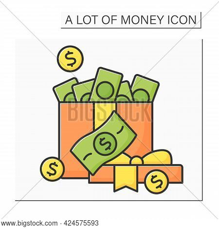 Money Color Icon. Cash For Present. Money In Present Box. Jackpot. Wealth Concept. Isolated Vector I