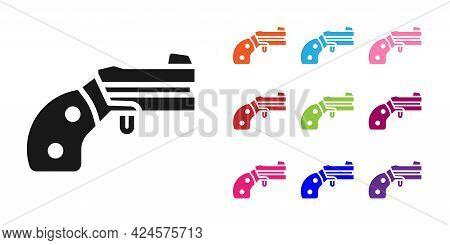 Black Small Gun Revolver Icon Isolated On White Background. Pocket Pistol For Self-defense. Ladies R