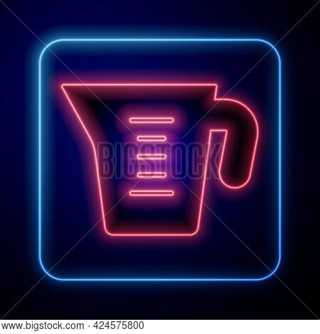 Glowing Neon Measuring Cup To Measure Dry And Liquid Food Icon Isolated On Black Background. Plastic