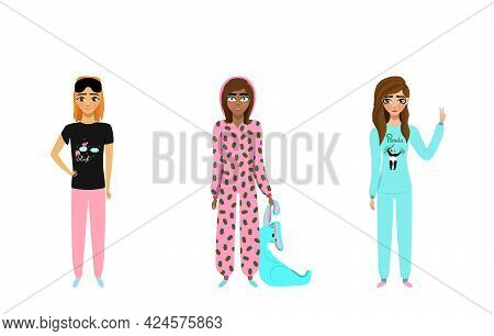 Pajama Party. Happy Women In Pajamas. Illustration In Flat Style