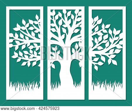 Decorative Panel With Wood. Drawing From Three Rectangular Parts. Branches Of A Tree With Leaves, Tr