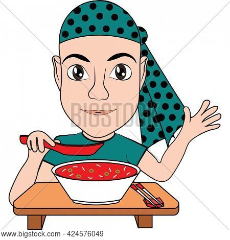 Wearing Teal for Ovarian Cancer a cancer patien waves hello whiile eating at the table.