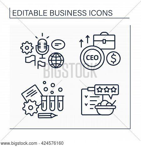 Business Line Icons Set. Global Forum, Rating And Testing. Chief Executive Officer. Business Idea Co
